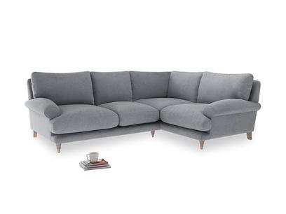Large right hand Corner Slowcoach Corner Sofa in Dove grey wool