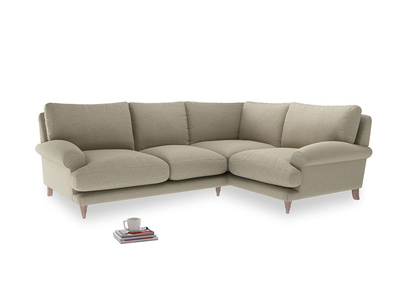Large right hand Corner Slowcoach Corner Sofa in Jute vintage linen