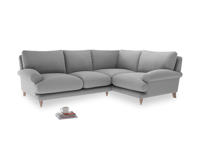 Large Right Hand Slowcoach Corner Sofa in Magnesium washed cotton linen