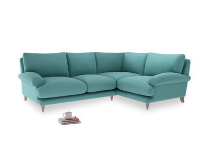 Large right hand Corner Slowcoach Corner Sofa in Peacock brushed cotton