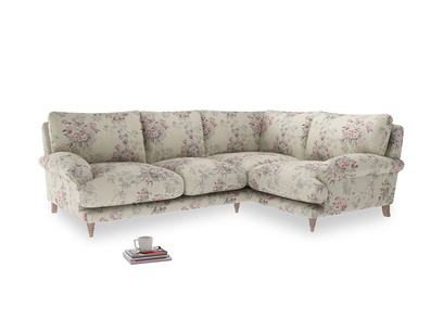 Large Right Hand Slowcoach Corner Sofa in Pink vintage rose