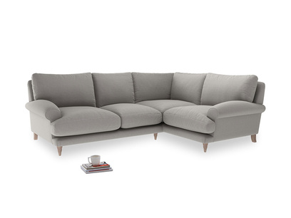 Large Right Hand Slowcoach Corner Sofa in Wolf Brushed Cotton