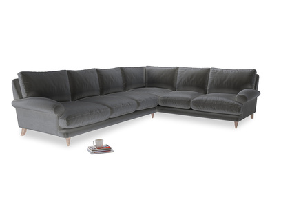 Xl Right Hand Slowcoach Corner Sofa in Steel clever velvet