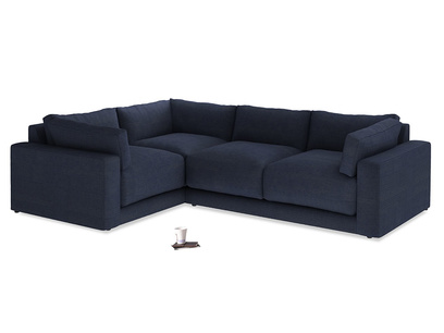 Large Left Hand Atticus Corner Sofa in Seriously Blue Clever Softie