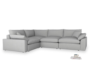 Large left hand Corner Cuddlemuffin Modular Corner Sofa in Pewter Clever Softie