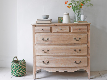 Antique inspired Audrie French vintage oak chest of drawers