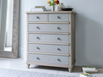 Apeldoor large grey painted chest of drawers in a two tone finish