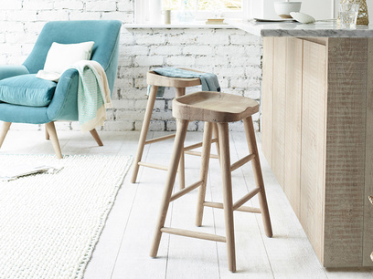 Solid oak kitchen stools with comfy contoured seat