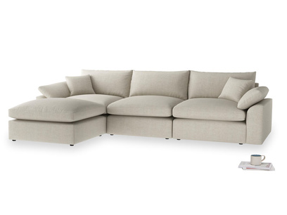 Large left hand Chaise Cuddlemuffin Modular Chaise Sofa in Thatch house fabric