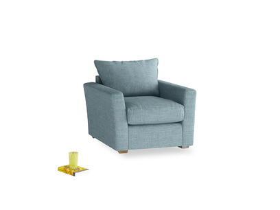 Pavilion Armchair in Soft Blue Laundered Linen