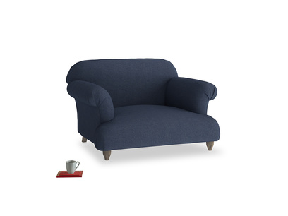 Soufflé Love seat in Night Owl Blue Clever Woolly Fabric