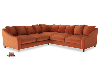 Even Sided Oscar Corner Sofa  in Old Orange Clever Deep Velvet