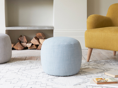 Little Cheese small round upholstered footstool