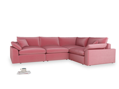 Large right hand Cuddlemuffin Modular Corner Sofa in Blushed pink vintage velvet