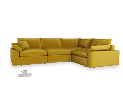 Large right hand Cuddlemuffin Modular Corner Sofa in Burnt yellow vintage velvet