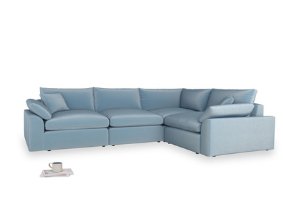 Large right hand Corner Cuddlemuffin Modular Corner Sofa in Chalky blue vintage velvet