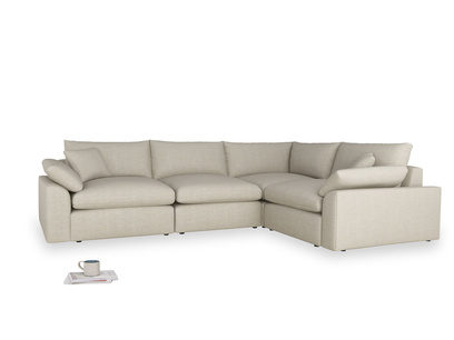 Large right hand Corner Cuddlemuffin Modular Corner Sofa in Thatch house fabric