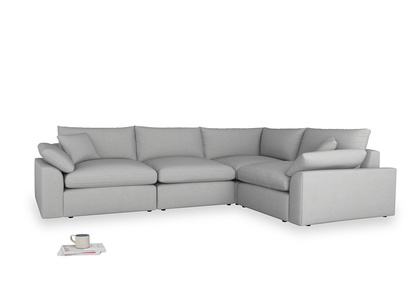 Large right hand Corner Cuddlemuffin Modular Corner Sofa in Pewter Clever Softie