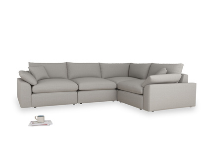 Large right hand Corner Cuddlemuffin Modular Corner Sofa in Wolf brushed cotton