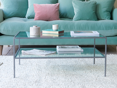Wolfie industrial style glass and metal coffee table