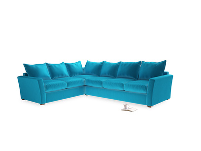 Xl Left Hand Pavilion Corner Sofa Bed in Azure Plush Velvet