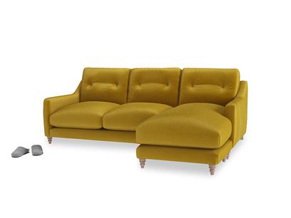 Large right hand Slim Jim Chaise Sofa in Burnt yellow vintage velvet