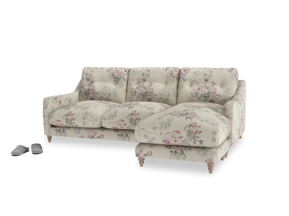 Large right hand Slim Jim Chaise Sofa in Pink vintage rose
