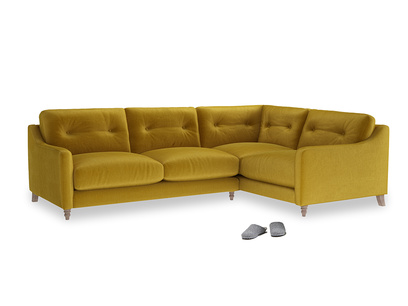 Large Right Hand Slim Jim Corner Sofa in Burnt yellow vintage velvet