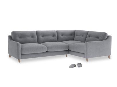 Large Right Hand Slim Jim Corner Sofa in Dove grey wool
