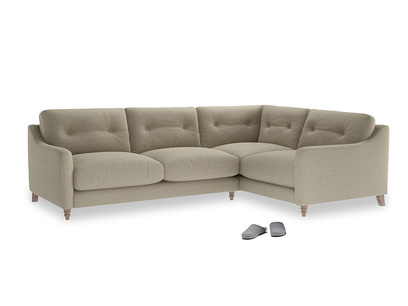 Large Right Hand Slim Jim Corner Sofa in Jute vintage linen
