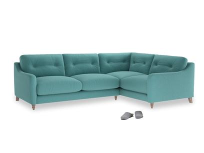 Large Right Hand Slim Jim Corner Sofa in Peacock brushed cotton