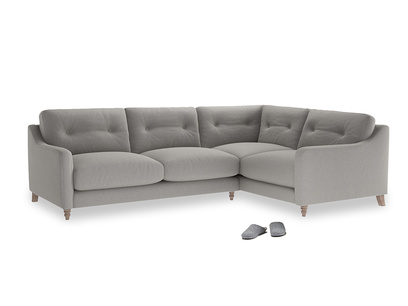 Large Right Hand Slim Jim Corner Sofa in Wolf brushed cotton