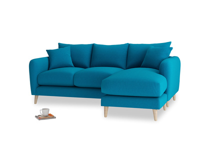 Large right hand Squishmeister Chaise Sofa in Bermuda Brushed Cotton
