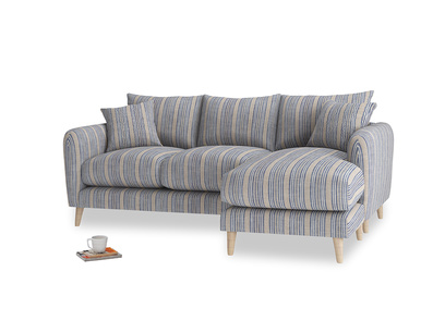 Large right hand Squishmeister Chaise Sofa in Brittany Blue french stripe