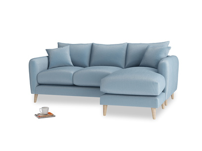 Large right hand Squishmeister Chaise Sofa in Chalky blue vintage velvet
