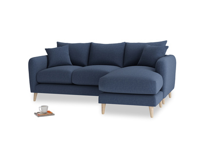 Large right hand Squishmeister Chaise Sofa in Navy blue brushed cotton