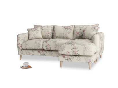 Large right hand Squishmeister Chaise Sofa in Pink vintage rose