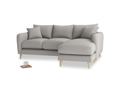 Large right hand Squishmeister Chaise Sofa in Wolf brushed cotton