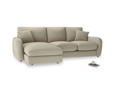 Large left hand Easy Squeeze Chaise Sofa in Jute vintage linen