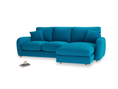 Large right hand Easy Squeeze Chaise Sofa in Bermuda Brushed Cotton