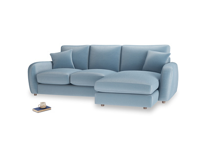 Large right hand Easy Squeeze Chaise Sofa in Chalky blue vintage velvet