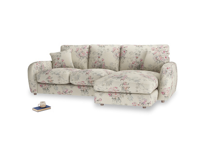 Large right hand Easy Squeeze Chaise Sofa in Pink vintage rose