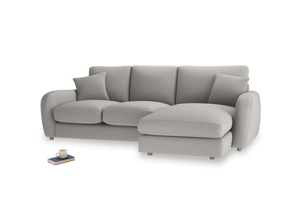 Large right hand Easy Squeeze Chaise Sofa in Wolf brushed cotton