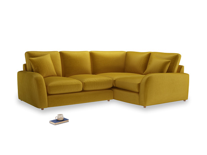 Large Right Hand Easy Squeeze Corner Sofa in Burnt yellow vintage velvet