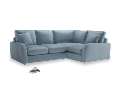 Large Right Hand Easy Squeeze Corner Sofa in Chalky blue vintage velvet