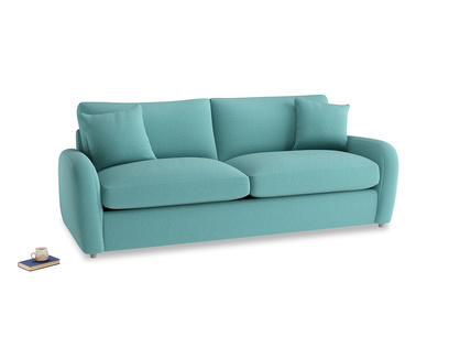 Large Easy Squeeze Sofa Bed in Peacock brushed cotton