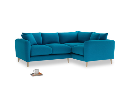 Large Right Hand Squishmeister Corner Sofa in Bermuda Brushed Cotton