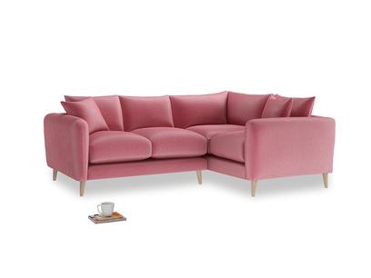 Large Right Hand Squishmeister Corner Sofa in Blushed pink vintage velvet
