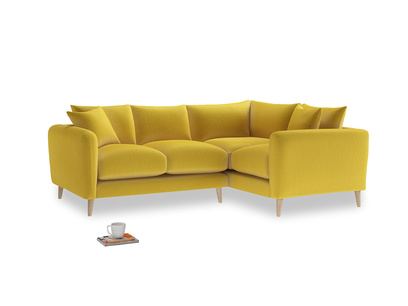 Large Right Hand Squishmeister Corner Sofa in Bumblebee clever velvet
