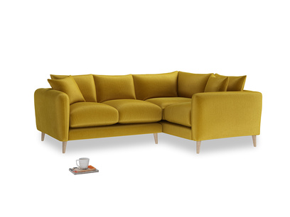 Large Right Hand Squishmeister Corner Sofa in Burnt yellow vintage velvet